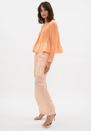 Runway | Pleated Yoke Long Sleeve Top Melon