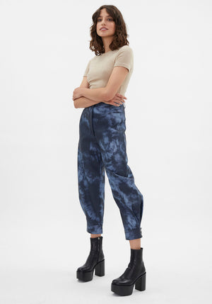 Runway | Tie Dye Ankle Length Sculpted Pant Navy
