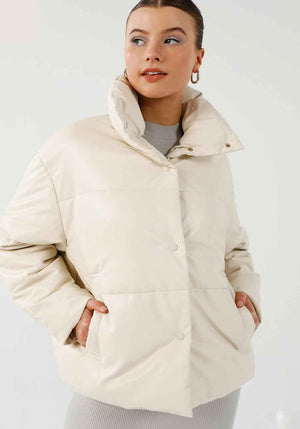 Virgo Faux Leather Puffer Jacket Ivory