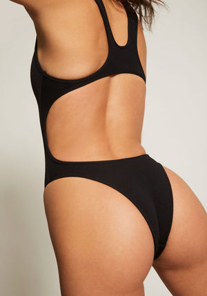Scorpio Cut Out One Piece Textured Black