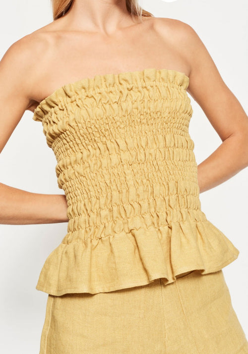 MARIELE RUCHED STRAPLESS TOP JAUNE