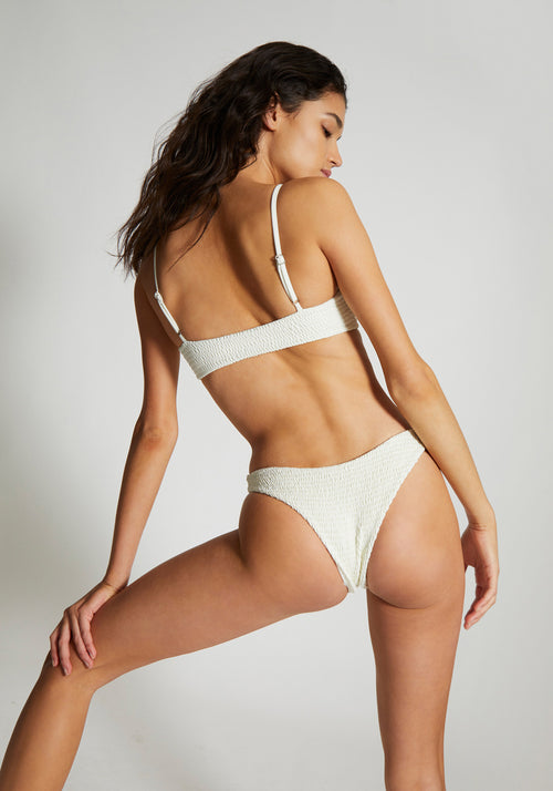 Sofia Shirring Bottom Ivory - Wanderlust Swim - Tuchuzy