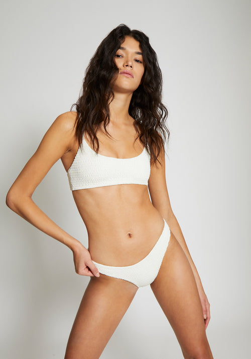 Tara Shirring Top Ivory - Wanderlust Swim - Tuchuzy