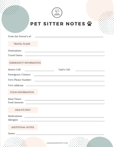 Pet Sitter Notes Free Download