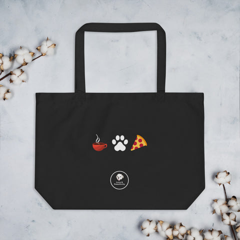 Coffee, Pets, & Pizza |  Large Eco Tote Bag