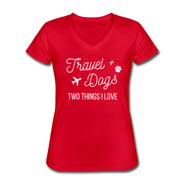 Travel & Dogs | V-Neck Tee | Womens - red