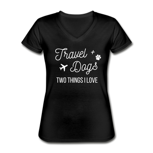 Travel & Dogs | V-Neck Tee | Womens - black