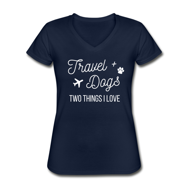 Travel & Dogs | V-Neck Tee | Womens - navy