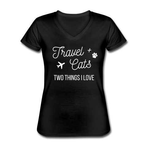 Travel & Cats | V-Neck Tee | Women - Love & Pawsitivity