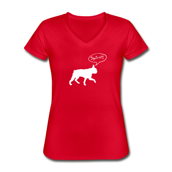 Squirrel! - Boston Terrier | V-Neck Tee | Women - Love & Pawsitivity