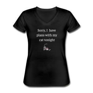 Plans With My Cat | V-Neck Tee | Women - Love & Pawsitivity