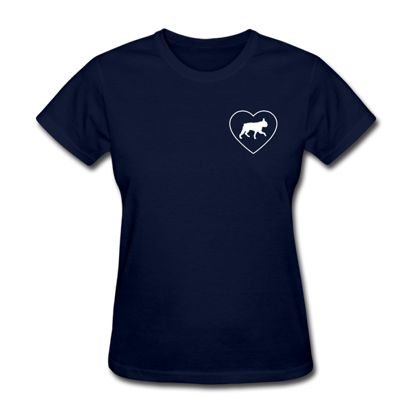 I Heart Boston Terriers! | Comfort Tee | Women - navy