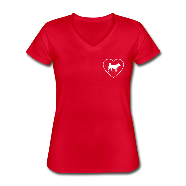 I Heart Huskys! | V-Neck Tee | Women - red