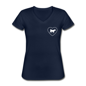 I Heart Huskys! | V-Neck Tee | Women - navy