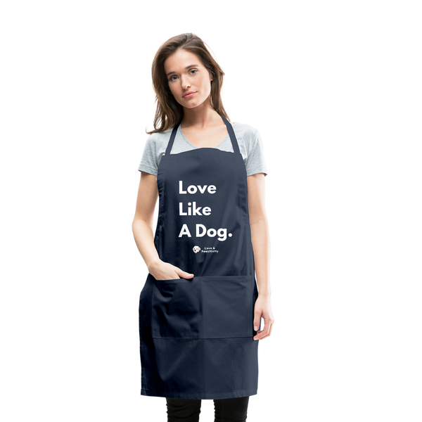 Love Like A Dog | Adjustable Apron - navy