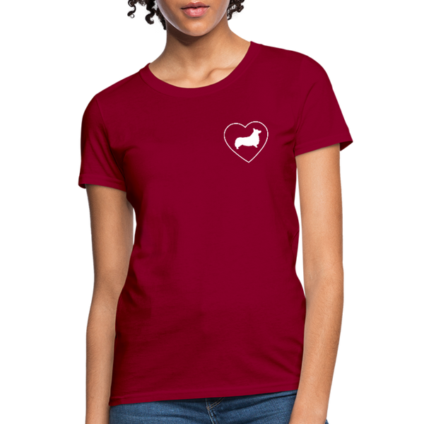 I Heart Corgis! | Comfort Tee | Women - dark red