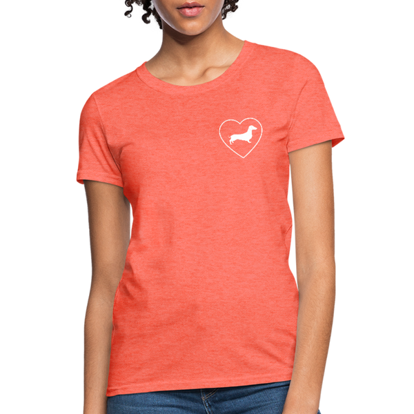 I Heart Dachshunds! | Comfort Tee | Women - heather coral