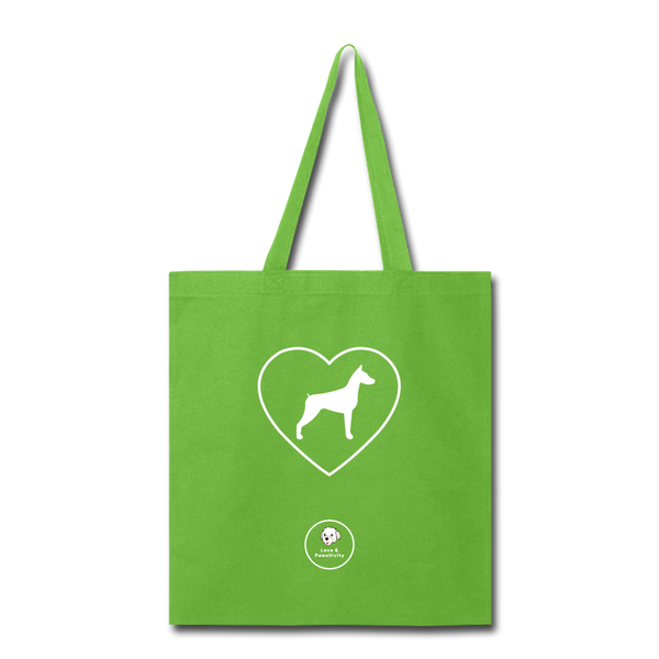 I Heart Dobermans! | Tote Bag - lime green