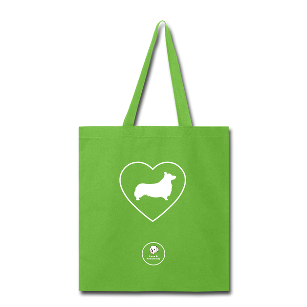 I Heart Corgis! | Tote Bag - lime green