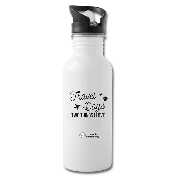 Travel & Dogs | Reusable Water Bottle - white