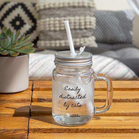Easily Distracted by Cats | Mason Jar Mug - clear