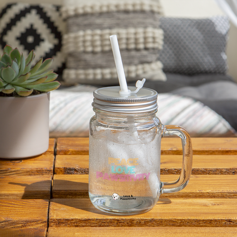 Peace, Love, and Pawsitivity | Mason Jar Mug - clear