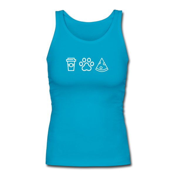 Coffee, Pets, & Pizza | Comfort Tank Top | Women - turquoise