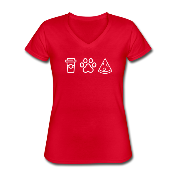 Coffee,  Pets,  & Pizza | V-Neck Tee | Women - red