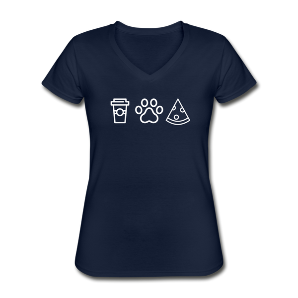 Coffee,  Pets,  & Pizza | V-Neck Tee | Women - navy