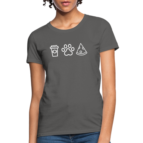 Coffee, Pets, & Pizza | Comfort Tee | Women - charcoal