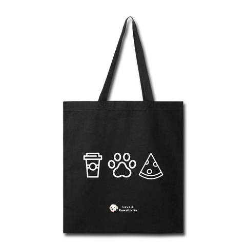 Coffee, Pets, & Pizza | Tote Bag - black