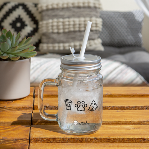 Coffee,  Pets,  & Pizza | Mason Jar Mug - clear