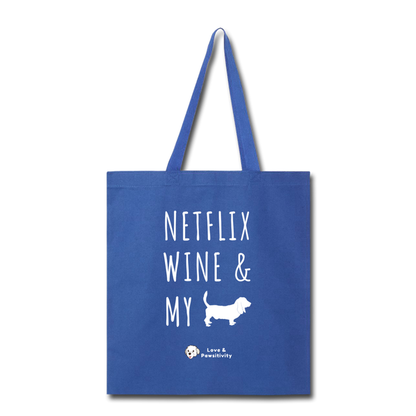 Netflix, Wine, & My Hound | Tote Bag - royal blue