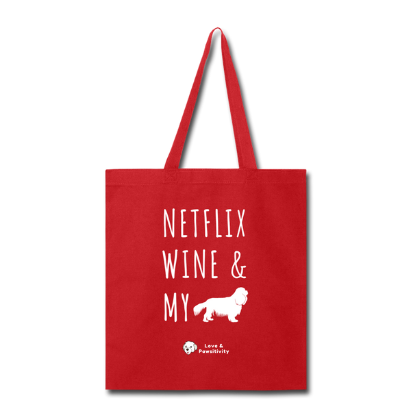 Netflix, Wine, & My Cavalier | Tote Bag - red