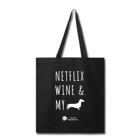 Netflix, Wine, & My Doxie | Tote Bag - black