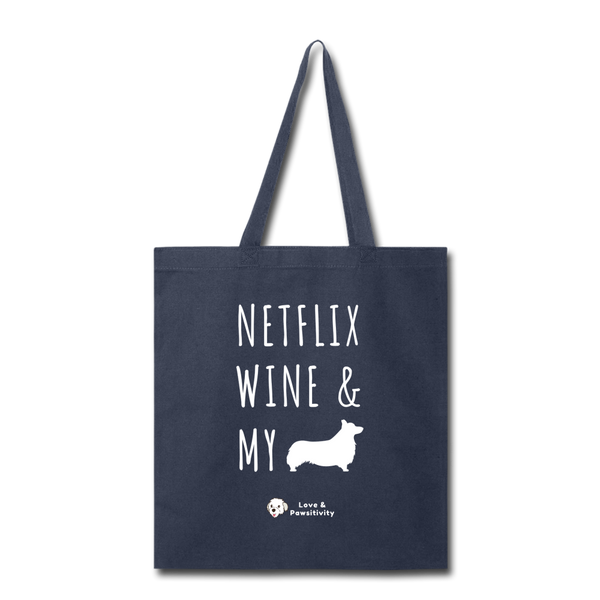 Netflix, Wine, & My Corgi | Tote Bag - navy