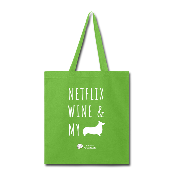 Netflix, Wine, & My Corgi | Tote Bag - lime green