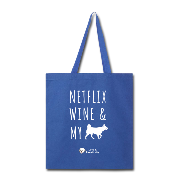 Netflix, Wine, & My Husky | Tote Bag - royal blue
