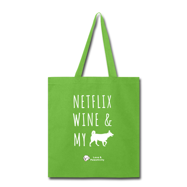 Netflix, Wine, & My Husky | Tote Bag - lime green