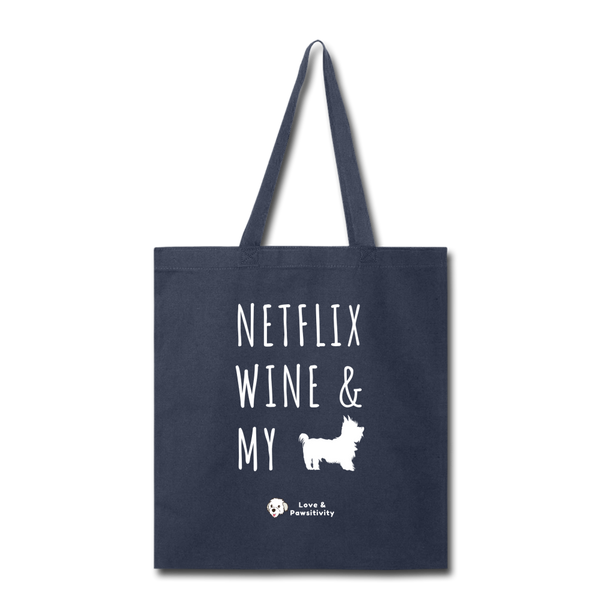 Netflix, Wine, & My Yorkie | Tote Bag - navy