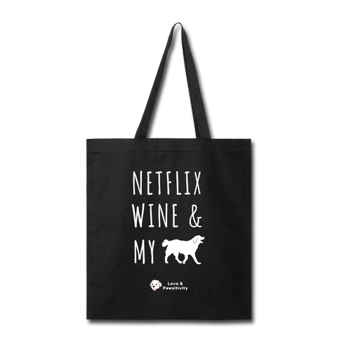 Netflix, Wine, & My Labrador | Tote Bag - black
