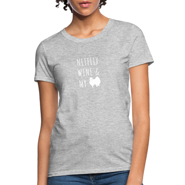 Netflix, Wine, & My Pomeranian | Comfort Tee | Women - heather gray