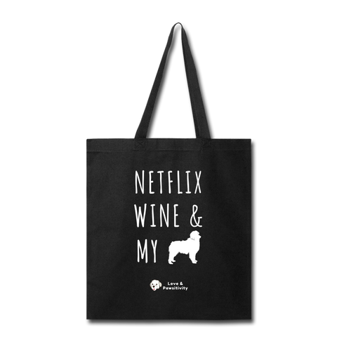 Netflix, Wine, & My Australian Shepherd | Tote Bag - black