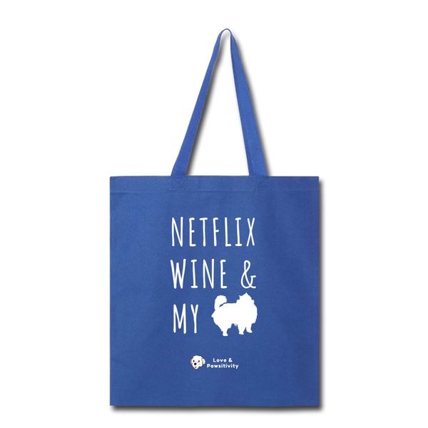 Netflix, Wine, & My Pomeranian | Tote Bag - royal blue