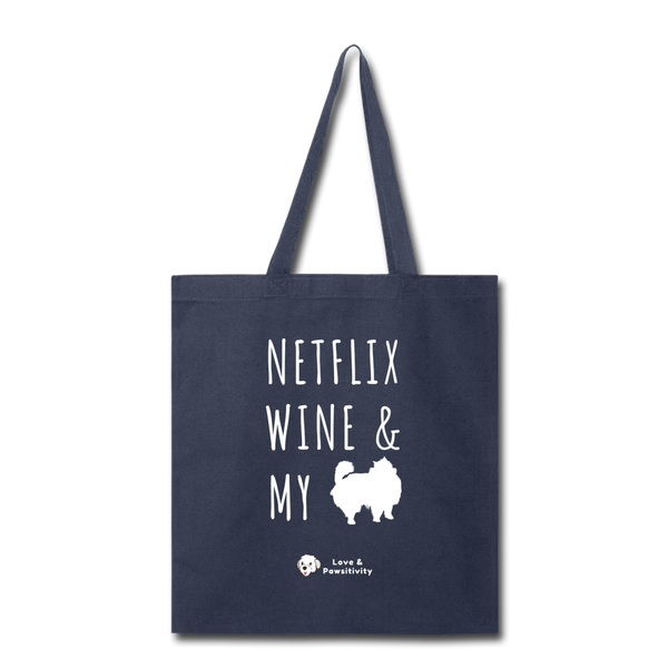 Netflix, Wine, & My Pomeranian | Tote Bag - navy