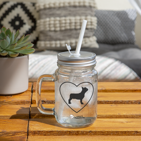 I Heart French Bulldogs! | Mason Jar - clear