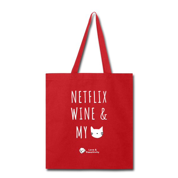 Netflix, Wine, & My Cat | Tote Bag - red