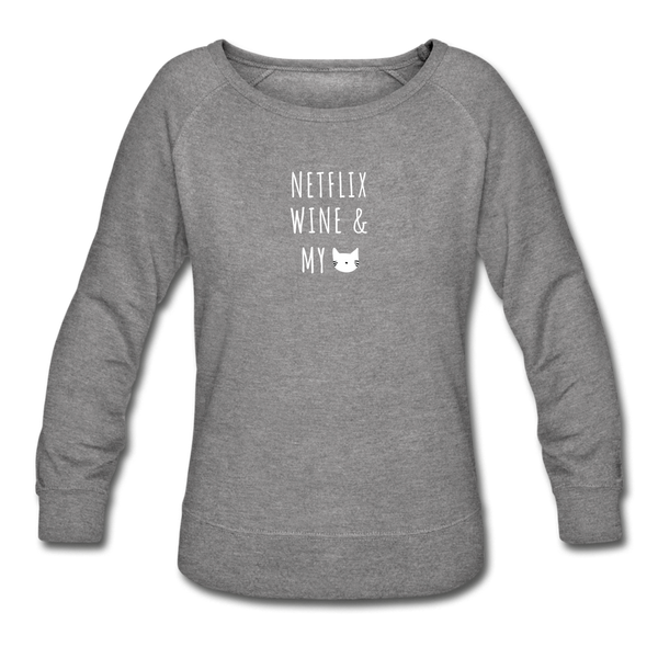 Netflix, WIne, & My Cat | Sweatshirt | Women - heather gray