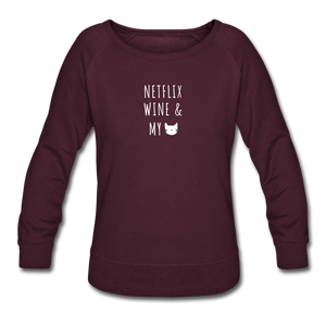 Netflix, WIne, & My Cat | Sweatshirt | Women - plum
