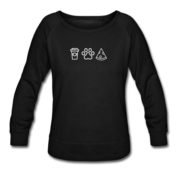 Coffee, Pets, & Pizza | Sweatshirt | Women - black